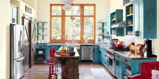 appealing-retro-kitchen-decorating-ideas-inspiration-home-design-with-blue-kitchen-cabinet-along-teak-wooden-kitchen-table-and-red-chair-also-wooden-frame-glass-window-near-wall-blue-shelf-plus-silver.jpg