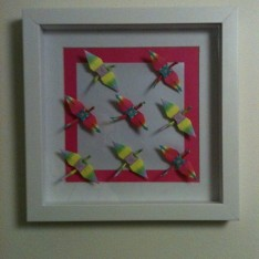 quadro-origami-tsurus-coloridos