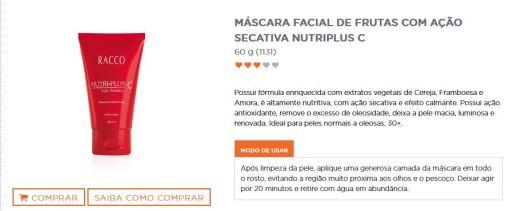 descrição máscara facial frutas Racco